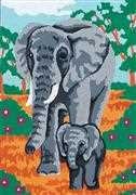 Grafitec Elephant and Calf Tapestry Canvas