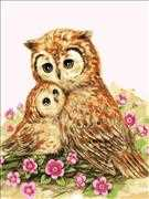 Mother & Baby Owl - Grafitec Tapestry Canvas