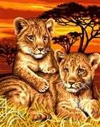 Lion Cubs  - Grafitec Tapestry Canvas