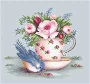 Bird and Teacup on Aida - Luca-S Cross Stitch Kit