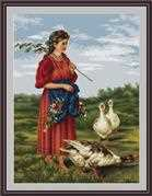 Luca-S Girl with Geese - Petit Point Tapestry Kit