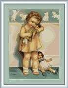Luca-S Girl with Doll - Petit Point Tapestry Kit