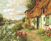 Luca-S Cottage Landscape - Petit Point Tapestry Kit