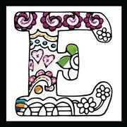 Design Works Crafts Zenbroidery - Letter E Embroidery Fabric