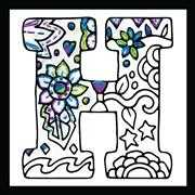 Design Works Crafts Zenbroidery - Letter H Embroidery Fabric