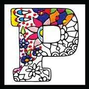 Design Works Crafts Zenbroidery - Letter P Embroidery Fabric