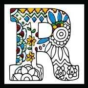 Design Works Crafts Zenbroidery - Letter R Embroidery Fabric