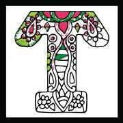 Design Works Crafts Zenbroidery - Letter T Embroidery Fabric