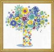 Design Works Crafts Blue Floral Quilt Vase Cross Stitch Kit