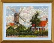 RIOLIS Windmill at Knokke Cross Stitch Kit