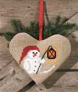 Snowman Heart Bag - Permin Cross Stitch Kit