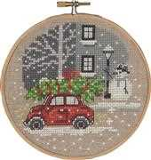 Permin Red Fiat Christmas Cross Stitch Kit