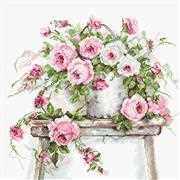 Luca-S Roses on a Stool on  Aida Cross Stitch Kit
