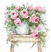 Luca-S Flowers on a Stool on  Aida Cross Stitch Kit