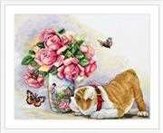 Merejka Bulldog and Butterflies Cross Stitch Kit