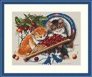 Merejka Kittens & Cherries Cross Stitch Kit