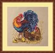 Merejka Rooster and Hen Cross Stitch Kit