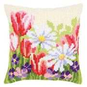 Vervaco Spring Flower Cushion Cross Stitch Kit