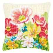Vervaco Summer Flowers Cushion Cross Stitch Kit