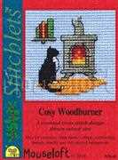 Cosy Woodburner - Mouseloft Cross Stitch Card Design