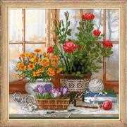 RIOLIS Crocuses on Windowsill Cross Stitch Kit