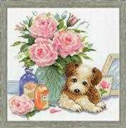 Puppy with Roses - Design Works Crafts Cross Stitch Kit