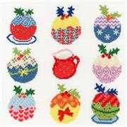 Bothy Threads Slightly Dotty Xmas Puds Christmas Cross Stitch Kit