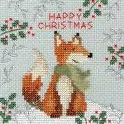 Bothy Threads Xmas Fox Christmas Card Making Christmas Cross Stitch Kit