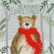 Bothy Threads Xmas Bear Christmas Card Making Christmas Cross Stitch Kit
