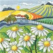 Heritage Daisy Landscape - Evenweave Cross Stitch Kit