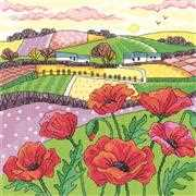 Poppy Landscape - Aida - Heritage Cross Stitch Kit