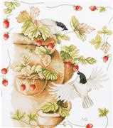 Lanarte Strawberries and Birds Cross Stitch Kit