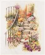 Lanarte Flower Stairs Cross Stitch Kit