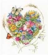 Lanarte Heart of Flowers Cross Stitch Kit