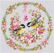 Great-Tits in Flower Wreath - Vervaco Cross Stitch Kit