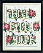 Love Faith Hope - Design Works Crafts Cross Stitch Kit