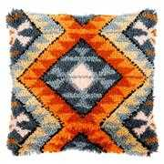 Boho Ethnic Print Cushion with Back - Vervaco Latch Hook Kit