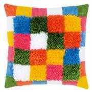 Bright Squares Cushion with Back - Vervaco Latch Hook Kit