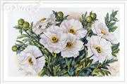 Merejka White Flowers Cross Stitch Kit