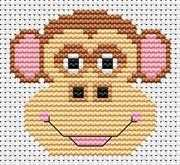 Fat Cat Sew Simple Monkey Cross Stitch Kit