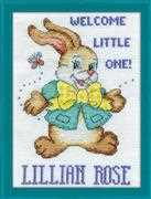 Design Works Crafts Welcome Bunny Birth Sampler Cross Stitch Kit