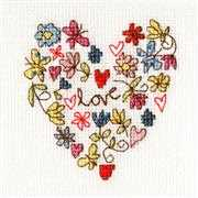 Bothy Threads Sweet Heart Card Wedding Sampler Cross Stitch Kit