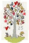 Bothy Threads Silver Celebration Card Wedding Sampler Cross Stitch Kit