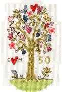 Bothy Threads Golden Celebration Card Wedding Sampler Cross Stitch Kit