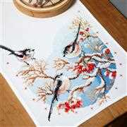 Long-Tailed Tits and Berries Runner - Vervaco Cross Stitch Kit