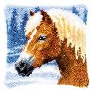 Winter Horse Latch Hook Cushion - Vervaco Latch Hook Kit