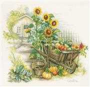 Lanarte Wheelbarrow and Sunflowers Cross Stitch Kit