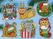 Design Works Crafts Festive Kittens Ornaments Cross Stitch