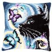 Cat with Butterflies Cushion - Vervaco Cross Stitch Kit