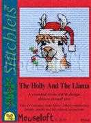 The Holly and The Llama - Mouseloft Cross Stitch Card Design